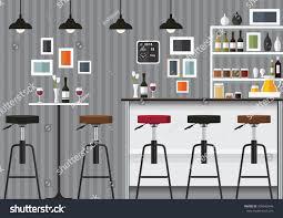 Bar Interior Design Modern Flat Design Kitchen Bar Interior Stock Vector 358543646
