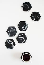 Homemade Coasters Diy Marble Hexagon Coasters Marbles Marble Coasters And Craft