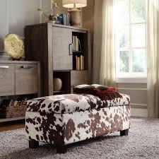 Bedroom Bench With Storage Homesullivan Putnam Textured Brown Cowhide Print Storage Bench