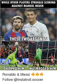 Soccer Player Meme - while other players struggle scoring against manuel neuer arena