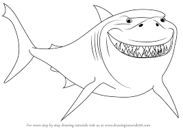 drawn shark finding nemo shark pencil and in color drawn shark