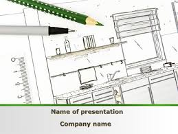Interior Design Drawing Templates by Kitchen Interior Design Powerpoint Template Backgrounds 09424
