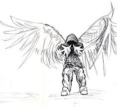 hooded skater angel drawing by uhpheo on deviantart