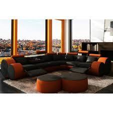 canapé d angle relax pas cher canapé d angle cuir orange et noir relax achat vente canapé