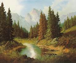 Mountain Landscape Paintings by Gallery Stretched Classical Painting Reproduction Artist Landscape