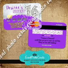silver purple sweet 16 invitations glitter credit card