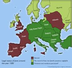 European Countries Map European Countries Where Jews Were Allowed To Exist In 1500 1701