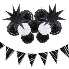 white paper fans 2018 black white paper decoration set party decor paper fans