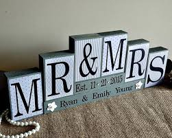 Wooden Wedding Gifts Personalized Mr And Mrs Wedding Sign Wooden Blocks Wedding