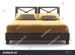 Wooden Bed Brown Wooden Bed Isolated On White Stock Illustration 23619772