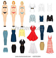 paper doll clothes office holiday body stock vector 410701504
