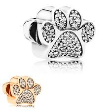 pandora charm bracelet charms images Free shipping 1pc silver rose gold dog paw bead charms fits jpg