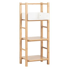 Bamboo Shelves Bathroom Odin Bamboo And White Lacquer 3 Tier Storage Unit Buy Now At