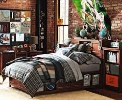 Tween Boy Bedroom Ideas by Great Teenage Boy Bedroom With Wooden Furniture And Brick Walls