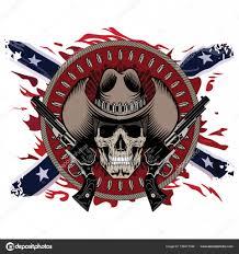 American Flag Skull Design Gunfighter Skull In Cowboy Hat Two Crossed Gun And