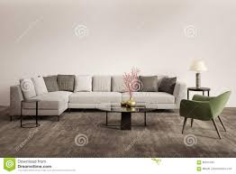 Contemporary Gray Living Room Furniture Contemporary Grey Living Room With Green Armchair Stock Photo