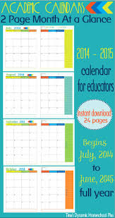 2 page month at a glance academic calendar