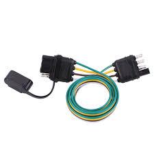 Light Socket Extension 6v 12v 24v 4 Pin Flat Trailer Plug Light Socket Wire Connector
