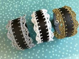 leather bracelet craft images 5 little monsters leather bracelet with crocheted edging jpg
