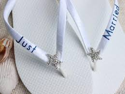 bridal gift just married gift flip flops bridal gift white