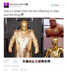 Grammy Memes - ceelo green wore an all gold outfit to the grammys and the internet