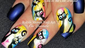 diy black cat nails watercolor nail art design tutorial youtube