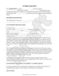 Fake Attorney Letter by Sample Co Signer Agreement Form Template Rental Forms Pinterest