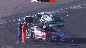 porsche gt3 racing series porsche 911 gt3 cup crashes drives on top other porsche