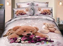 bedding and home decor 2018 cute brown teddy bear print cotton bedding set children s home