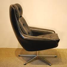 Leather Swivel Armchairs 10226 H W Klein Designed Danish Modern Leather Swivel Armchair