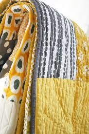 king size quilt elephant and dots in gray yellow and citron