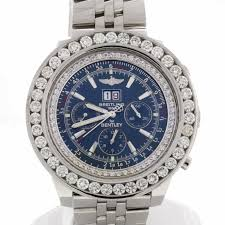 bentley breitling diamond breitling bentley 6 75 chronograph blue dial big date with 8 0 ct