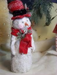 Paper Mache Christmas Crafts - ooak sculpted paper mache christmas winter snowman folk art