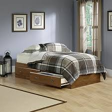 Wood Bed Frame With Drawers Sauder Shoal Creek Twin Wood Storage Bed 411222 The Home Depot