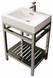 Bathroom Vanity Console by Tona Cisco Stainless Steel Console With White Acrylic Sink Chrome