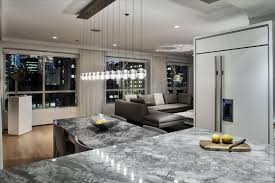 Urban Design Kitchens - urban kitchen design gray marble countertop sofa and cushion light