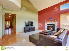 living room with vaulted ceiling vaulted ceiling living room with black leather sofa set stock