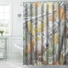 Sheer Shower Curtains Waterproof Lovely Forest Deer Pattern Shower Curtain Tub Curtain