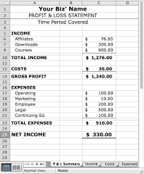 Profit And Loss Spreadsheet Template by How To Create A Basic Profit Loss Statement Free