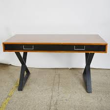 milo baughman style campaign desk with x base ebth
