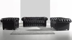canapé cuir noir 2 places salon vivaldi canapés 3 et 2 places fauteuil mobilier moss