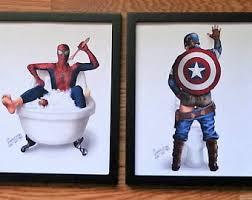 Captain America Decor Superhero Bathroom Etsy