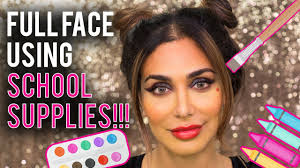 makeup schools in using school supplies makeup challenge huda beauty