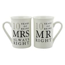 10th wedding anniversary 10th wedding anniversary mr mrs mug gift set 10 years of being