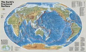 Latitude Map Of The World by Map Of Fractured Surface Of The World Tectonic Maps Of The World