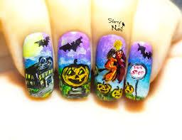 halloweentown halloween witches freehand nail art tutorial