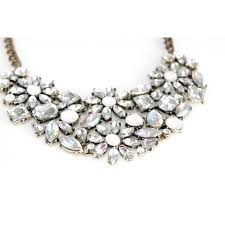bib necklace flower images Frosty crystal opal iridescent elegant wedding bridal flower bib jpg