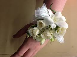 White Wrist Corsage White Rose And Orchid Wrist Corsage In Fairfield Ct Blossoms At