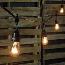 Clear Patio Lights Commercial Edison Drop String Lights 24 Clear Bulbs 48 Ft Black