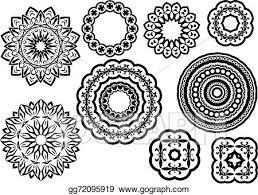 vector circle vignette lace ornaments set eps clipart